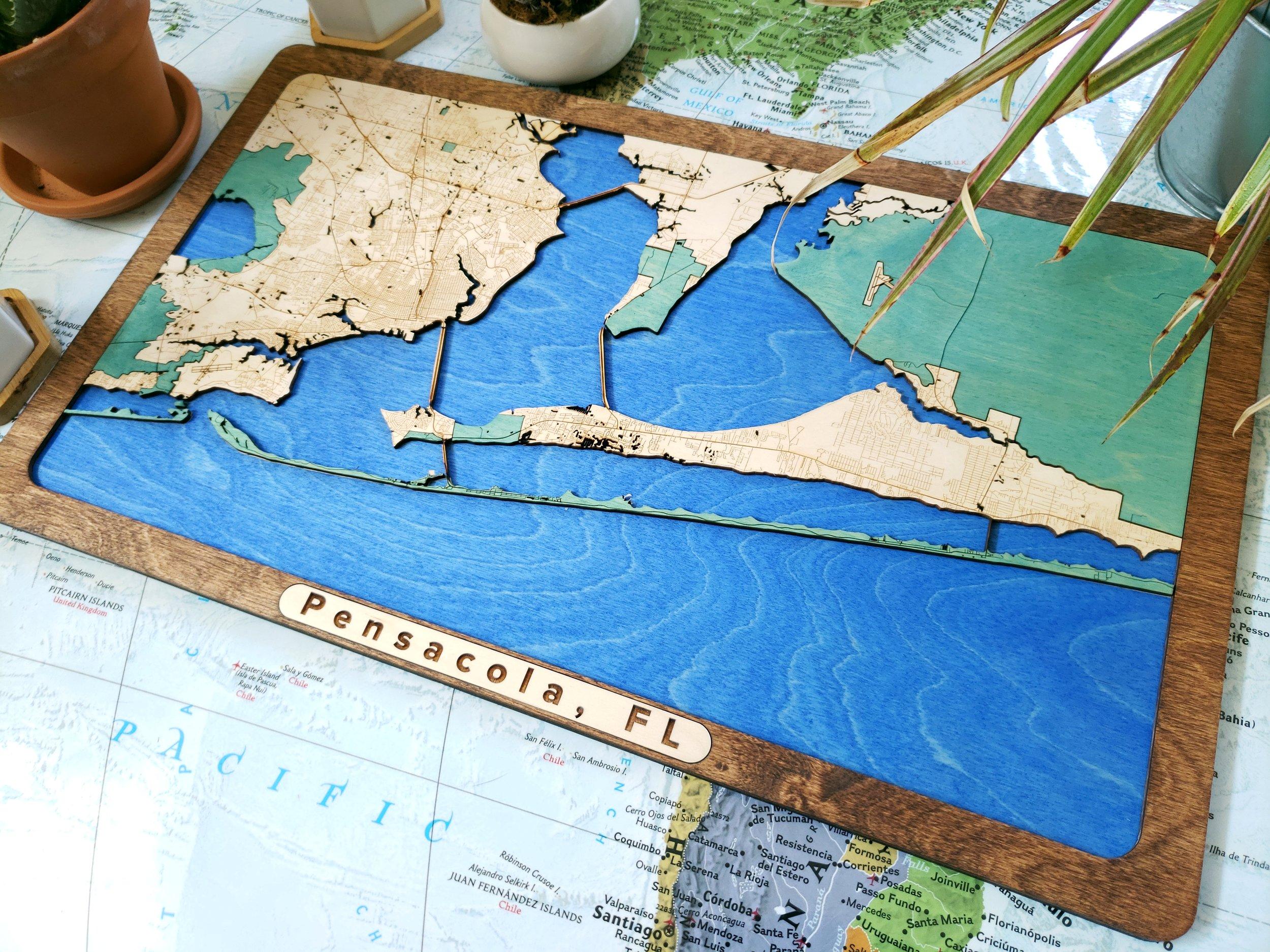 Pensacola Wooden Map, Custom Wooden Maps, Custom Wooden Map, Wooden Maps, Wood Map, Pensacola gift, Pensacola unique gift, Map gifts, world wooden map