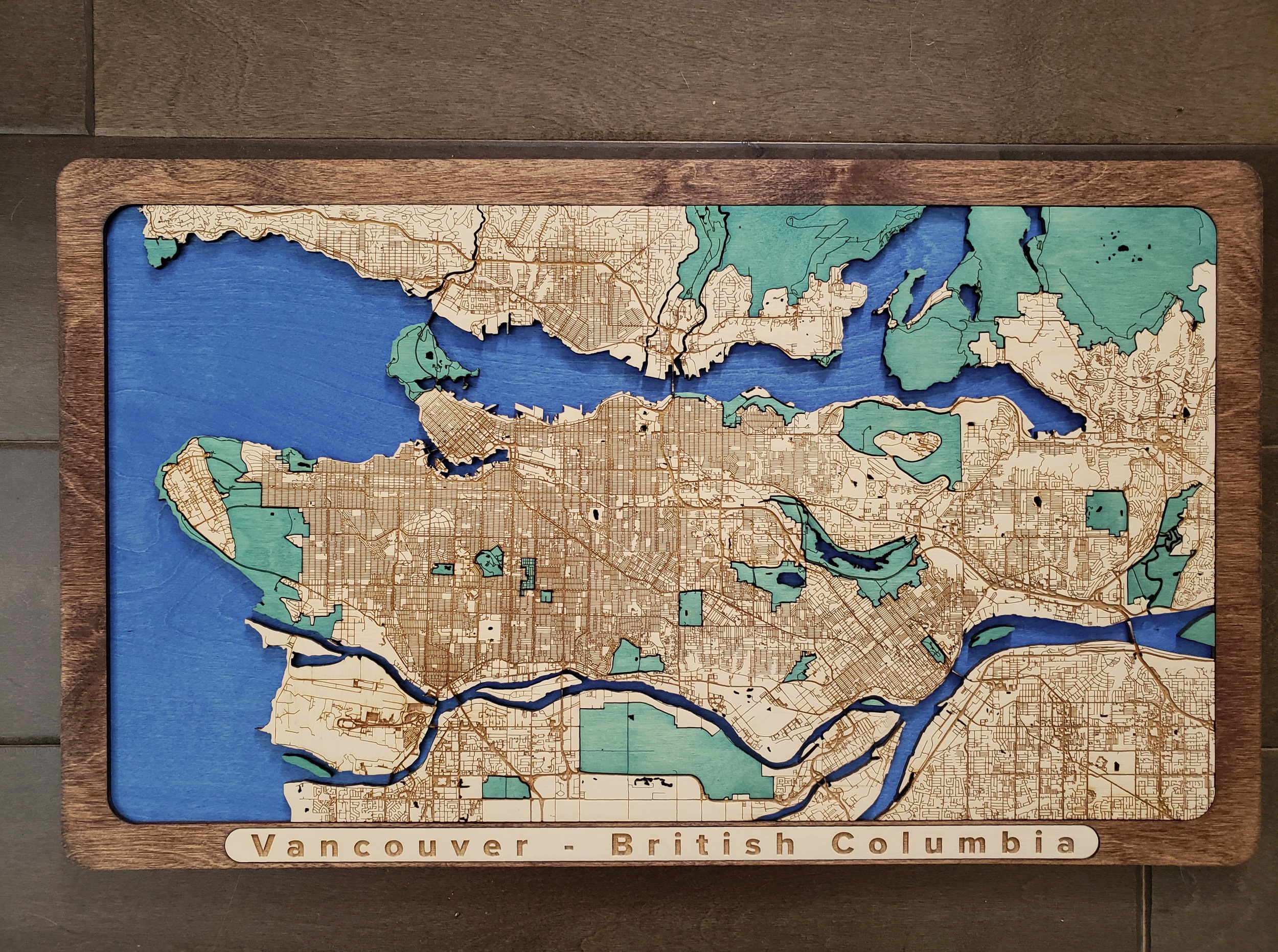 Vancouver Wooden Map Gift