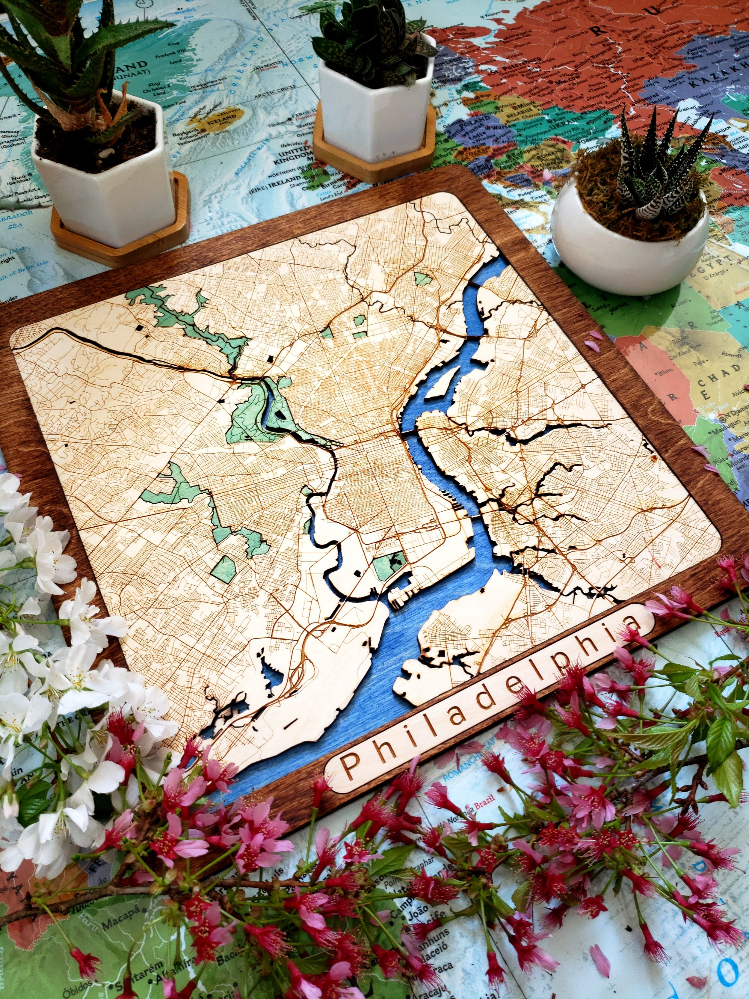 Any place onto wood — custom wooden maps -