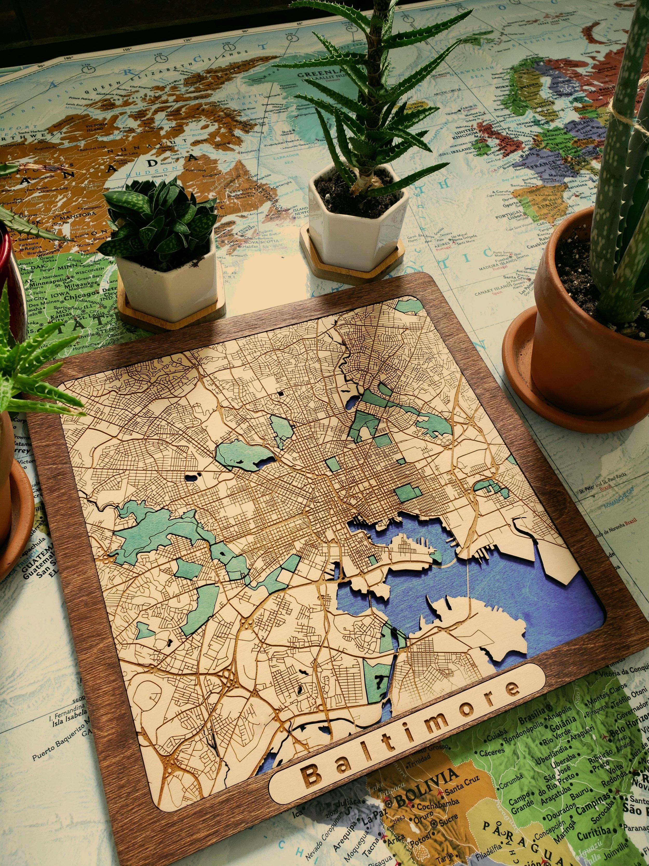Baltimore Wooden Map