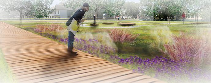 Desmare Playground - Perspective of Rain Garden
