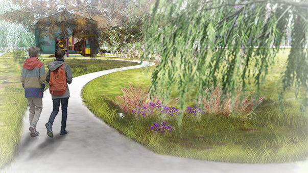 Easton Playground - Perspective of Rain Garden