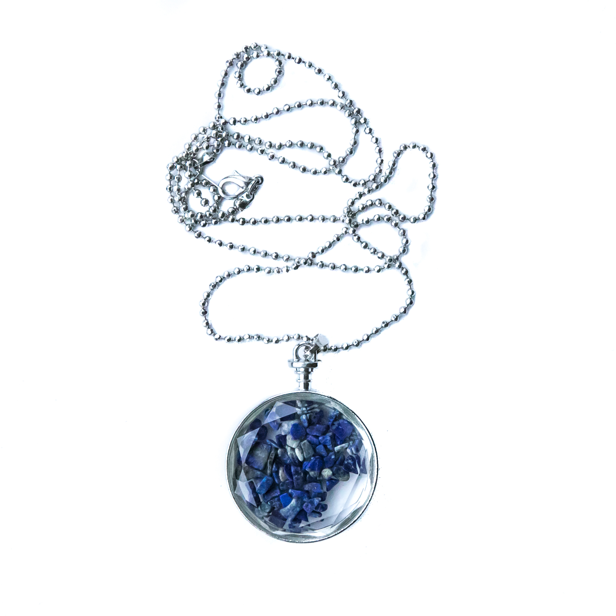 Blue Lapis Lazuli  option on sparkling Silver Chain: $90