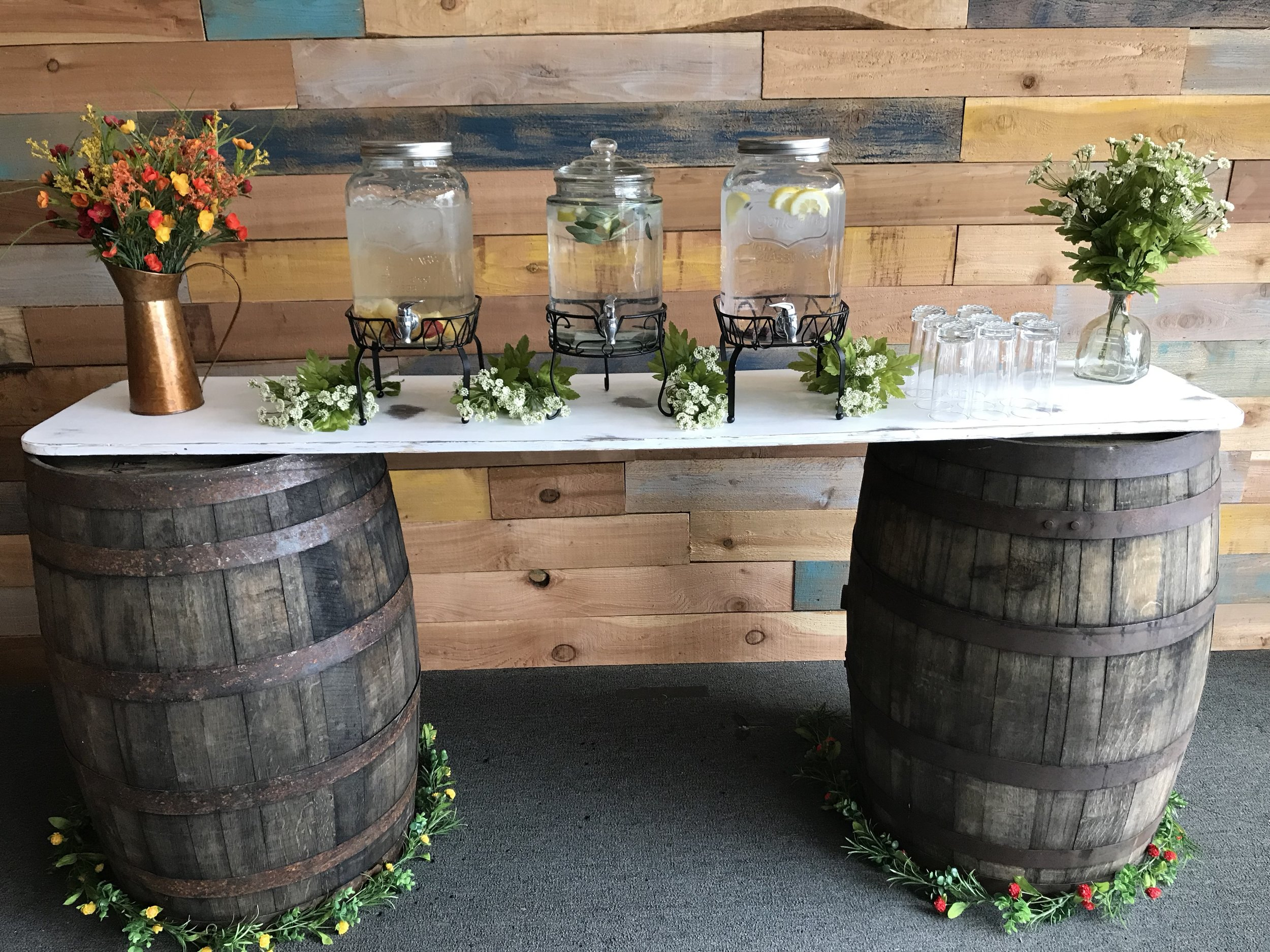 Wine Barrels with table top is perfect for your triple hydration station!