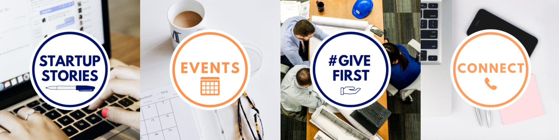 Startup Stories, Events, #GiveFirst, Connect