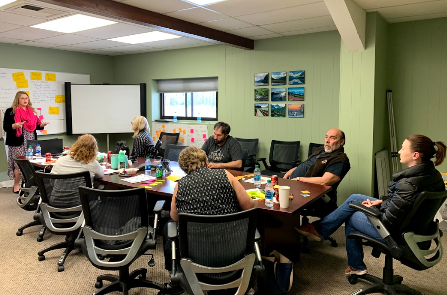 Julia Casey, entrepreneur specialist at the Center for Economic Development, leads the discussion during the Ideas to Dollars workshop in Kenai.