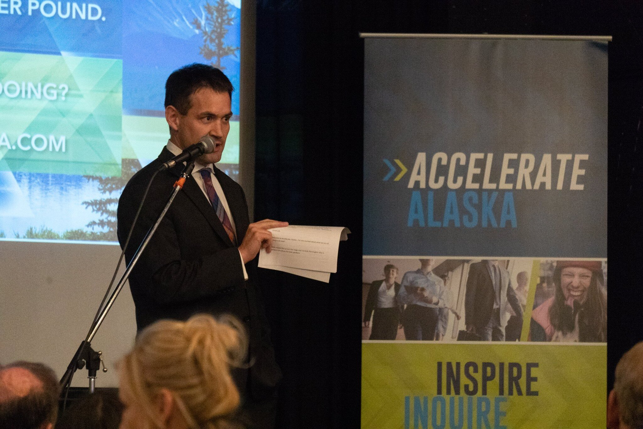 Ross Johnston, founder of Accelerate Alaska, speaking at last year's conference. (Photo courtesy of Accelerate Alaska).