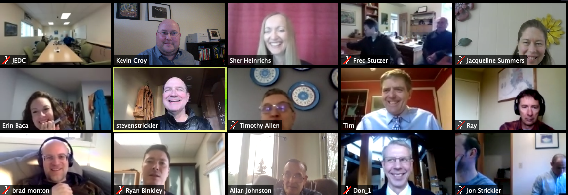 A screenshot from last year's Zoom conference calls for the Alaska Angel Conference (Photo courtesy of Erin Laughlin, of the Juneau Economic Development Council).