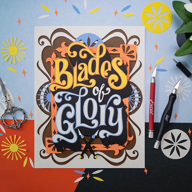 Here is the last #totallynutspapercuts pieces inspired by my tool of choice aka. Blades of Glory. In my last post, I talked how much I enjoy paper lettering that I am not able to work in any other medium. I was pretty much set to think that I found my style producing pieces that are intricate and decorative by nature, full of furnishes and details, and then something happened unexpectedly. I got into paper cutting. What I love about this change is that I knew nothing about this medium, a complete beginners mind. And I had to figure it all by myself. Find my process on how to turn my sketch to paper art. So I used my already existing skills and experience to figure it out. Is that the way paper artists do it? IDK and frankly I don't care. I found my own way and I think it's working. Swipe left for detail shot and the original sketch. 👉 . . #lettering #paperlettering #type #papertype #paperart #paperartist #letteringdaily #letteringartist #excellblades #neenahpaper #handmadefont #workingwithhands #passionproject #mypassion #video #newskill #createdtoday #handlettering #inmyownstyle #goodtype #typewip #typegang #homwork