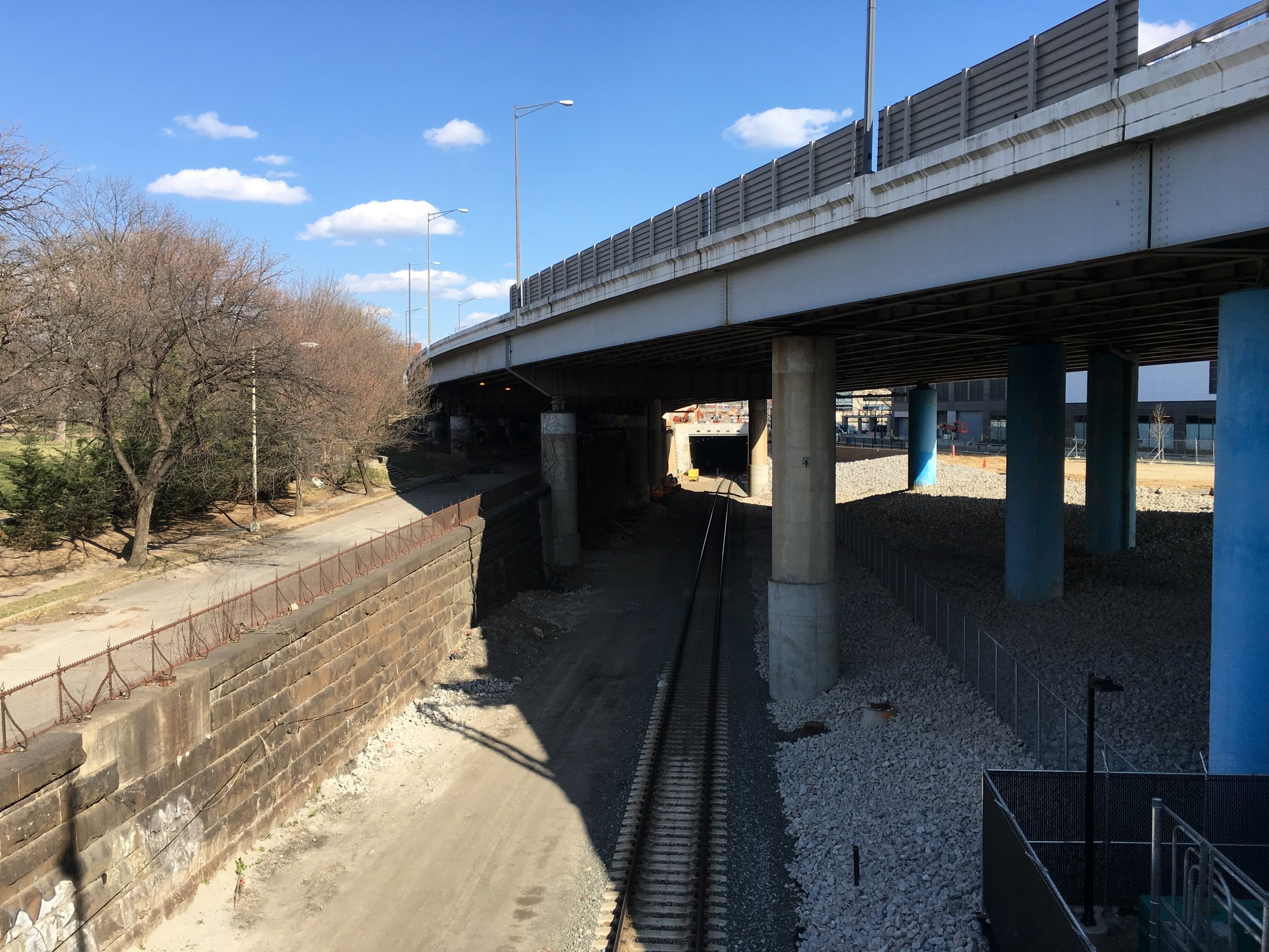 A sunken trench carries the tracks into the new Virginia Avenue Tunnel. Photo: Elliot Carter
