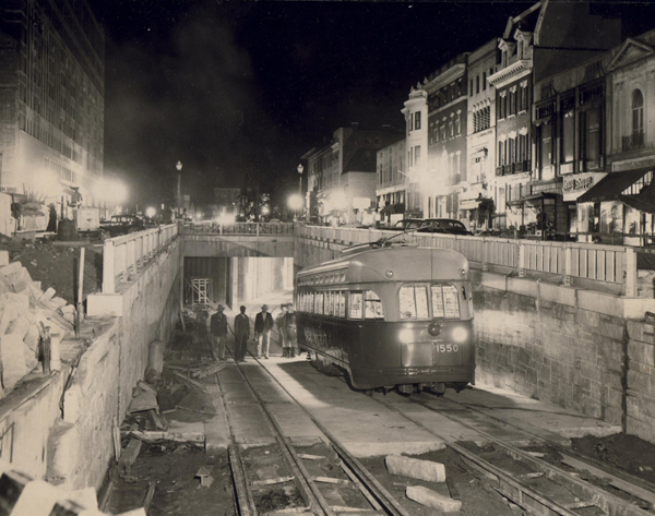 The inaugural streetcar emerges from the northern ramp of the Dupont Circle station on November 2, 1949.   Washington Star   via MLK Library/Public Domain