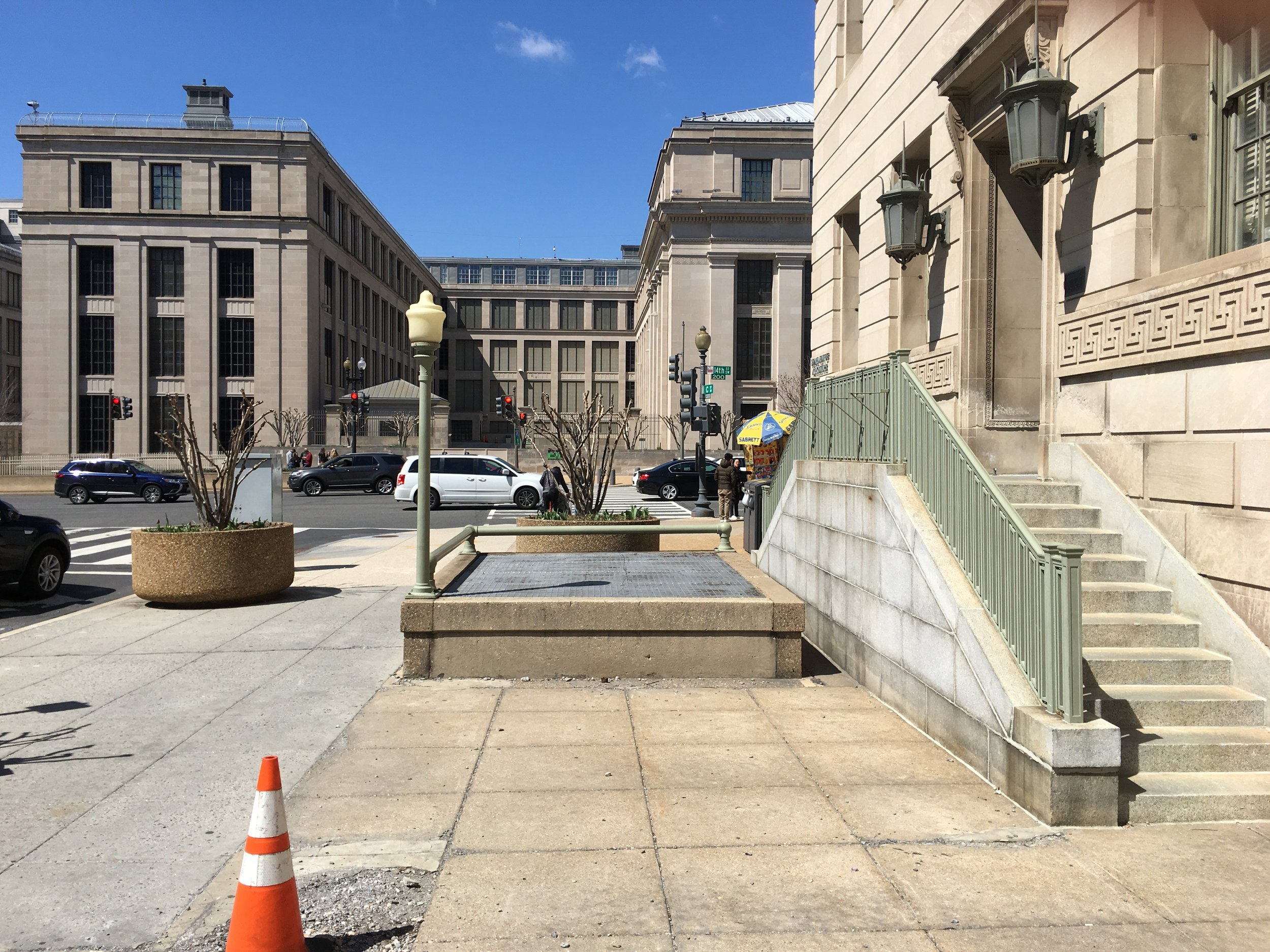 The pedestrian entrances to the Bureau of Engraving and Printing loop were sealed and abandoned in place. Photo: Elliot Carter