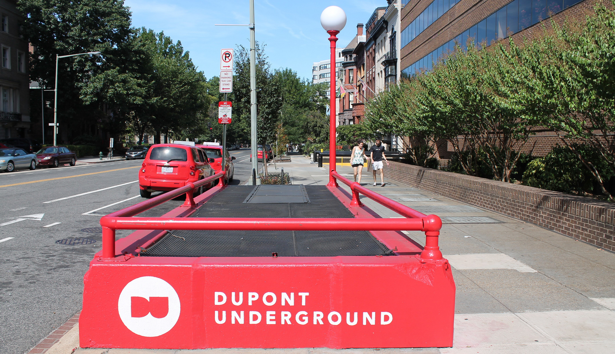 The iconic Capital Transit sidewalk entrances have been repainted red. Photo:   Elvert Barnes  /CC BY-SA 2.0