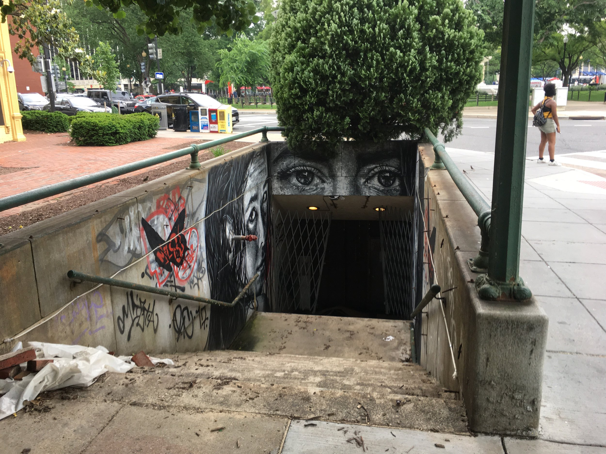 The Massachusetts Avenue entrance has a mural. Photo: Elliot Carter