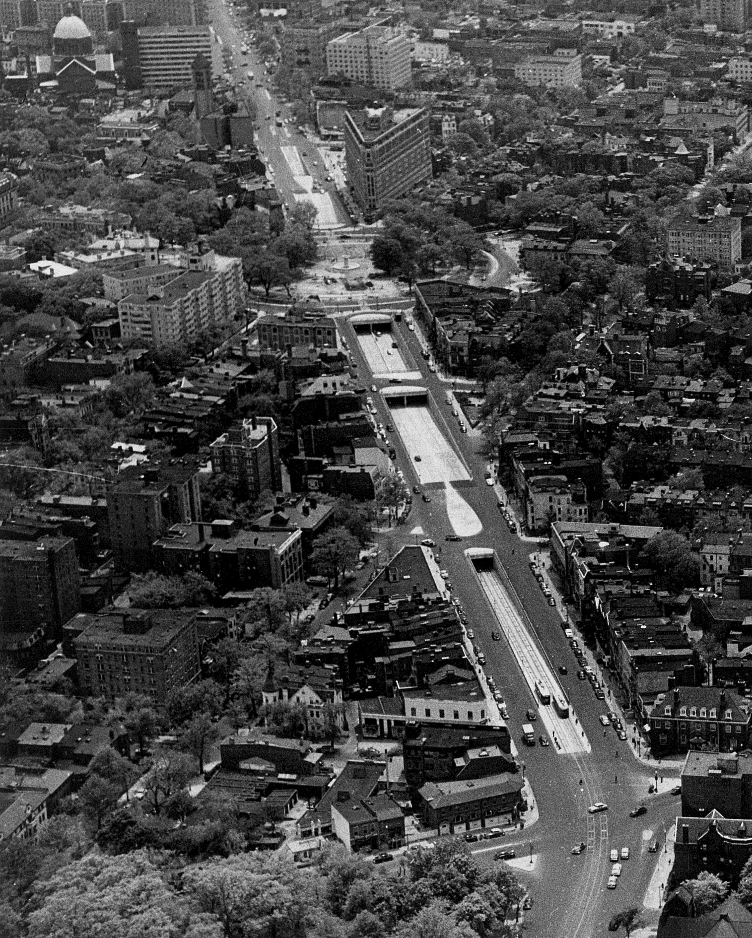 View down Connecticut Avenue showing streetcars on the foreground tunnel ramp. Photo:   District Department of Transportation  /Public Domain