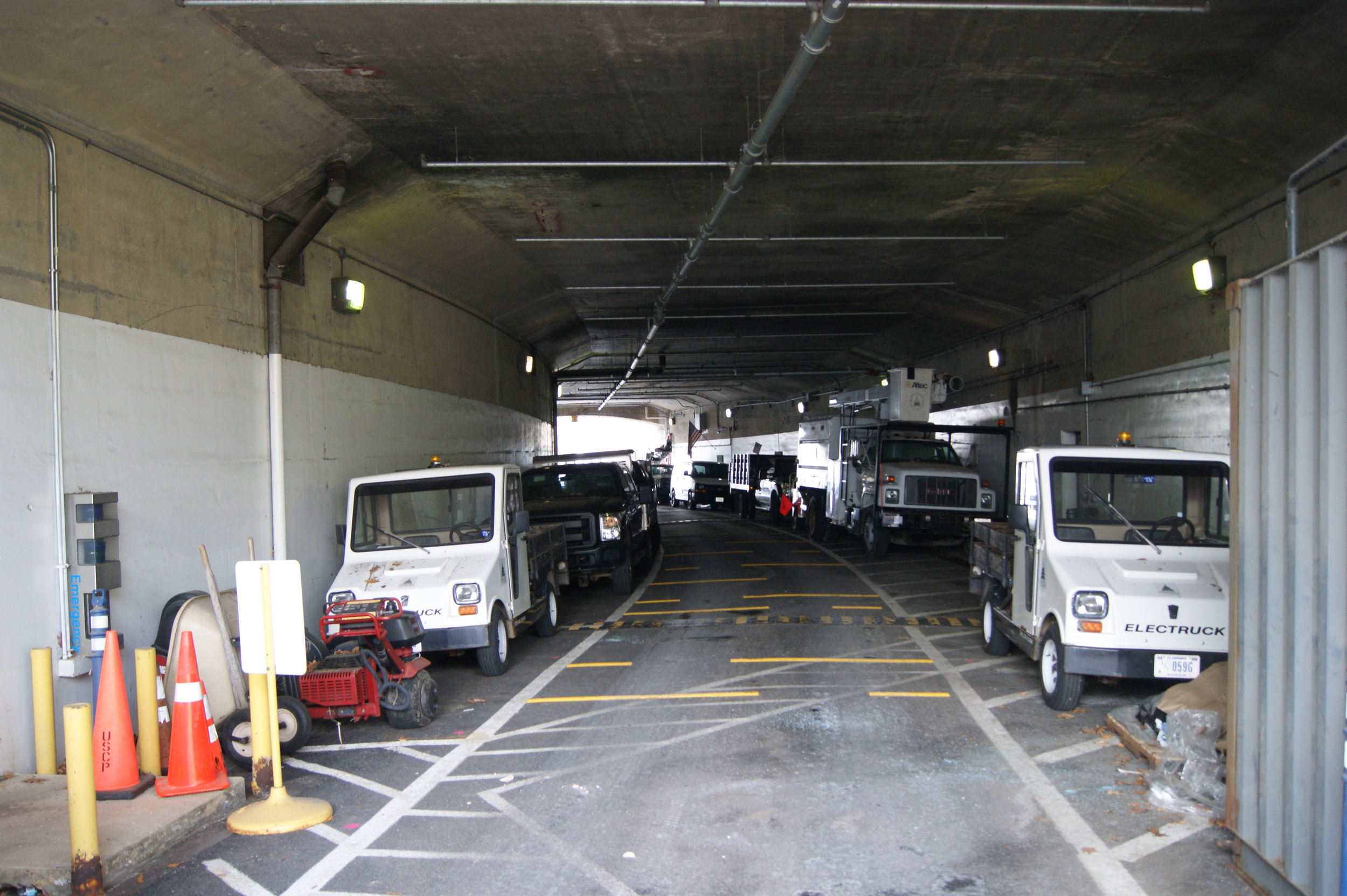 The C Street tunnel on Capitol Hill is currently used as an Architect of the Capitol parking garage. Photo: Elliot Carter