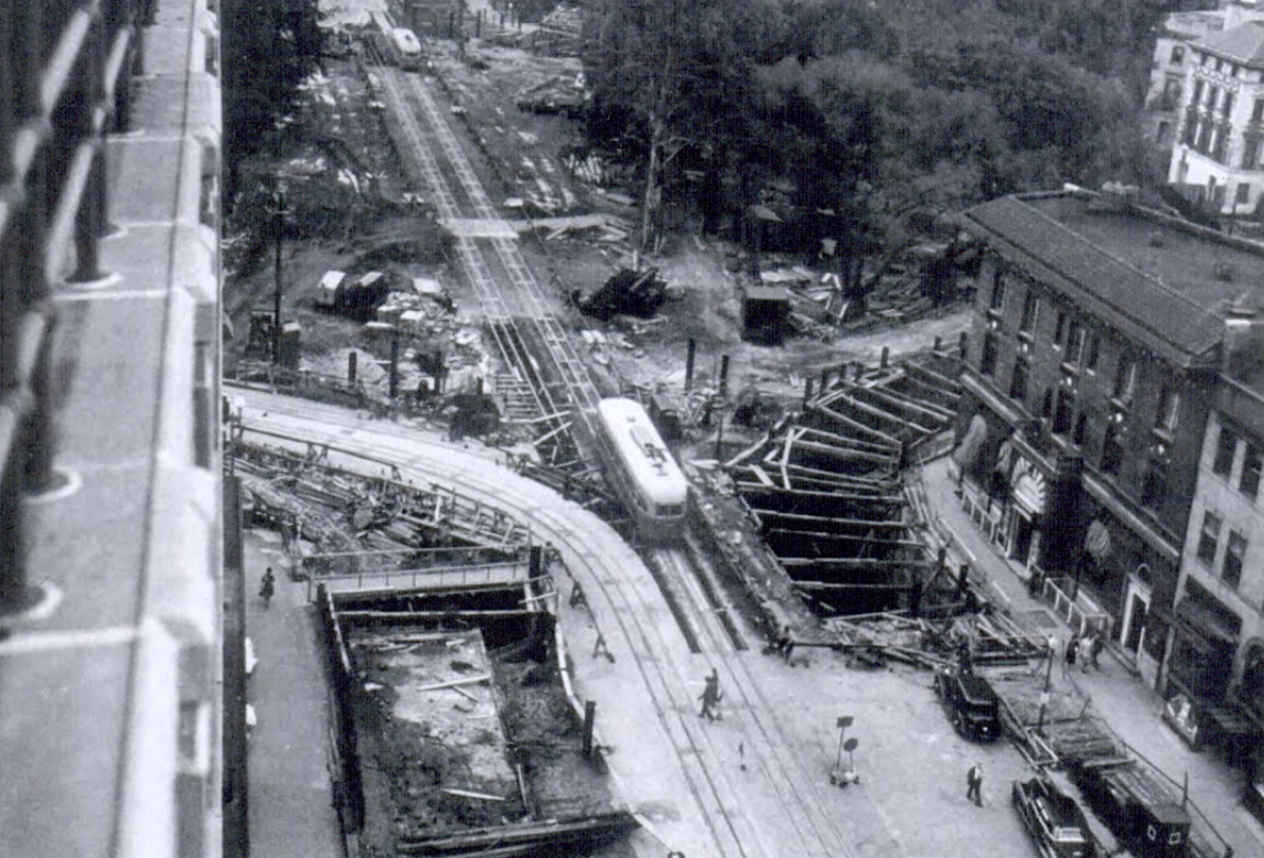 Underpass construction on October 3, 1948. Photo:   Washington Star   via MLK Library