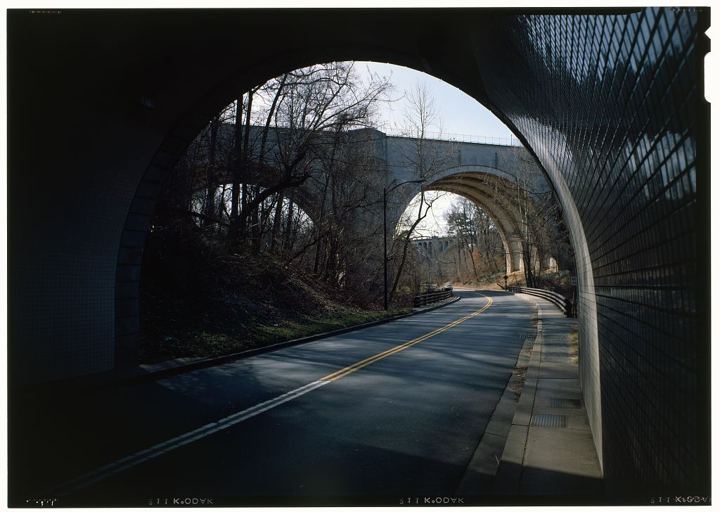 Inside the tunnel you have a terrific view of the bridges over Rock Creek Park. Photo: HABS via   Library of Congress  /Public Domain