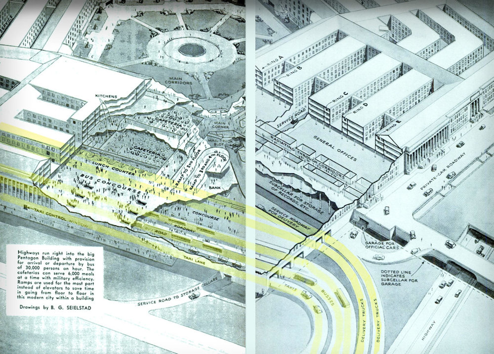 The Pentagon transit tunnels highlighted in yellow ran through the building for 1,000 feet along its southwestern side. . Illustration:   Popular Science  /Public Domain