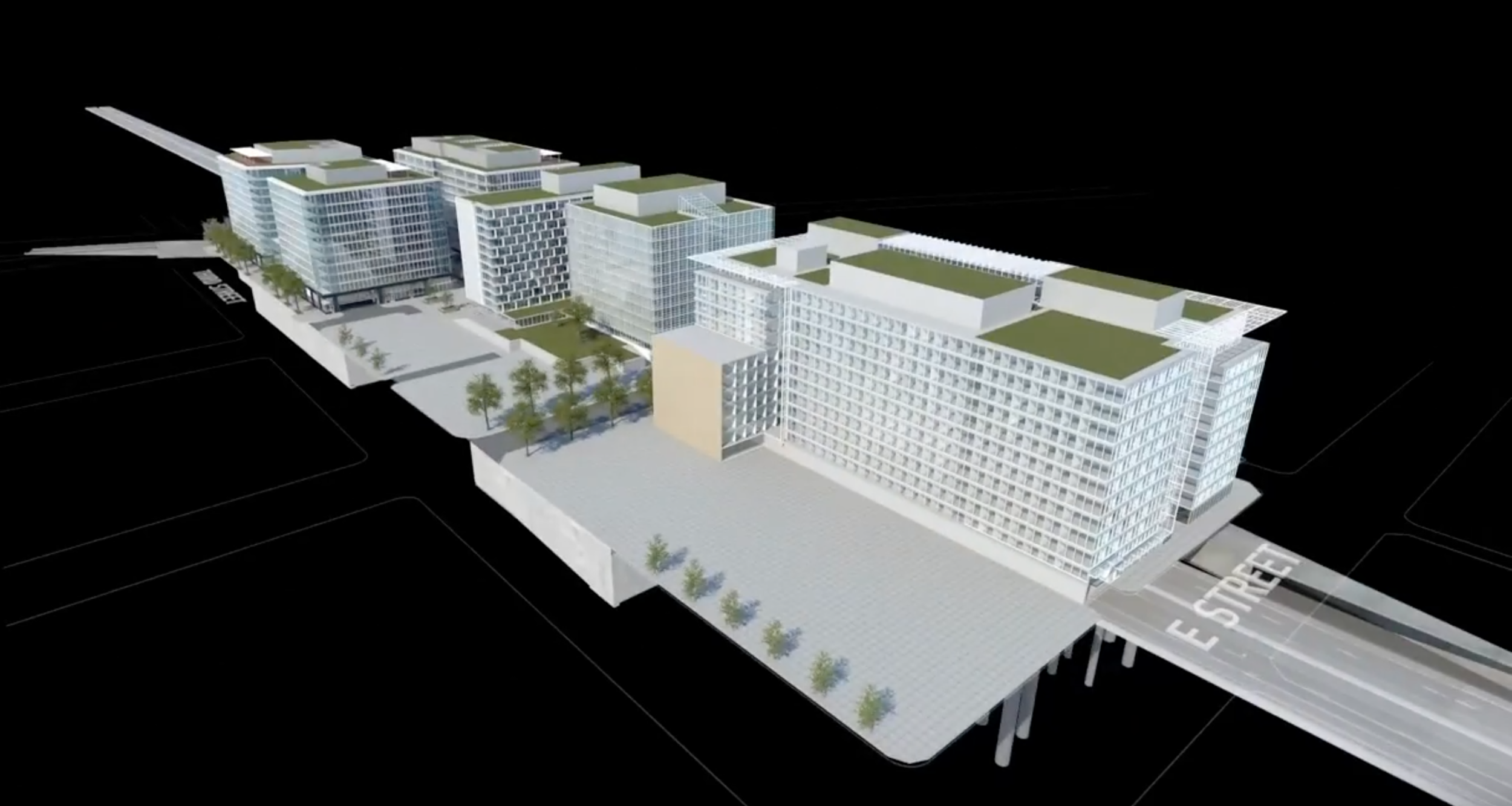 Three dimensional computer mockup of the Center Leg Freeway redevelopment plan. Image:   Capitol Crossing  /Press Release