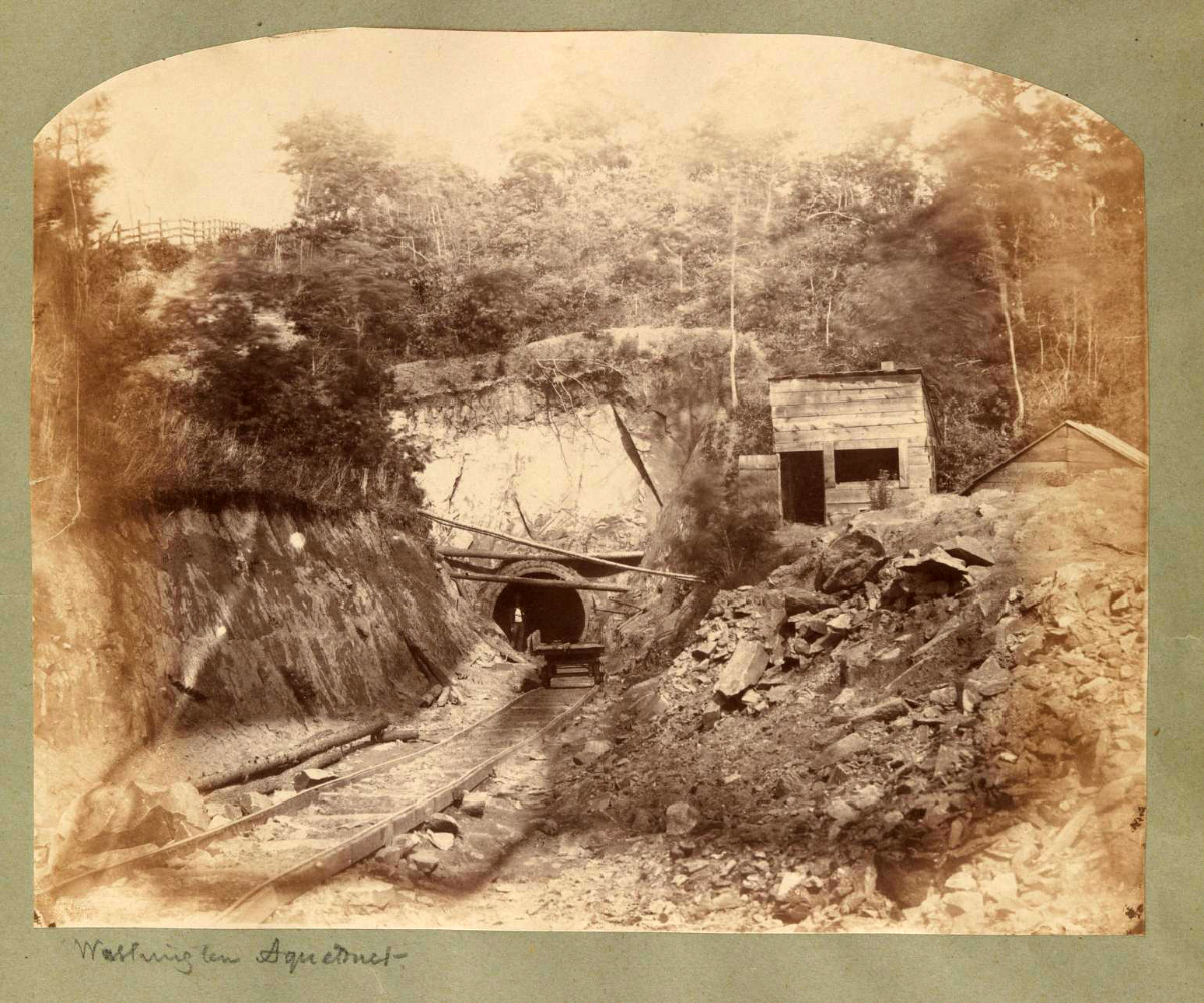 Washington Aqueduct tunnels leading to the Dalecarlia Reservoir. The conduits are nine feet in diameter and lined with a triple course of brick.Photo:   Titian Peale  /Public Domain