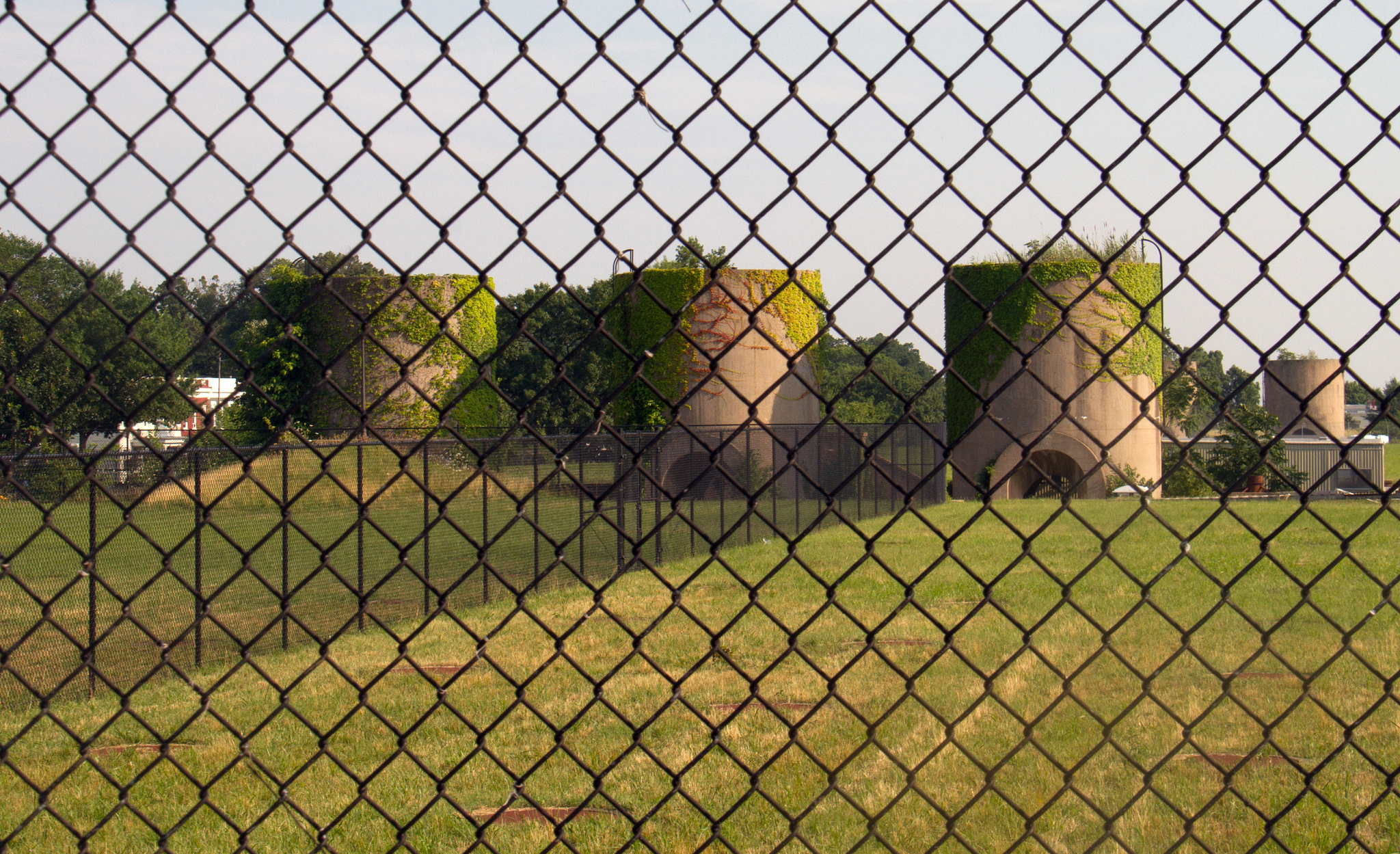 McMillan's sand silos seen in the summer of 2014. During warmer months the silos come alive with lovely ivy plantings left over from the Olmsted landscape design. Photo:   Flickr user David  /CC BY 2.0