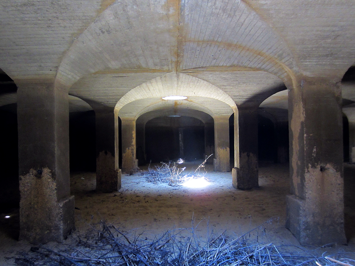 The underground vaults created their own weather systems when the sand filters were still in use, with internal clouds and condensation. Photo:   NPS  /Public Domain