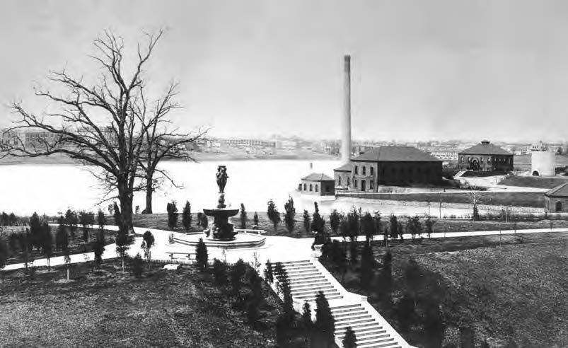 "Local newspapers dubbed the fountain at McMillan park the prettiest in Washington. The landscape design was complemented with a perimeter walking path and ample picnic space. Children would often swim in the reservoir and play on its ""beach."" Photo:  Army Corps of Engineers /Public Domain"