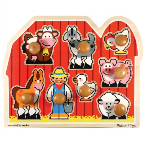 Birth-Two Years Old - Talk about animal sounds. You can use pictures in a book, use a puzzle like the one here, or a barn play set. I like the big knobs for little hands. You can even bring the farm animal figurines along for an outing with your child to a real farm. This helps your baby connect the sound and the animal. Use words like