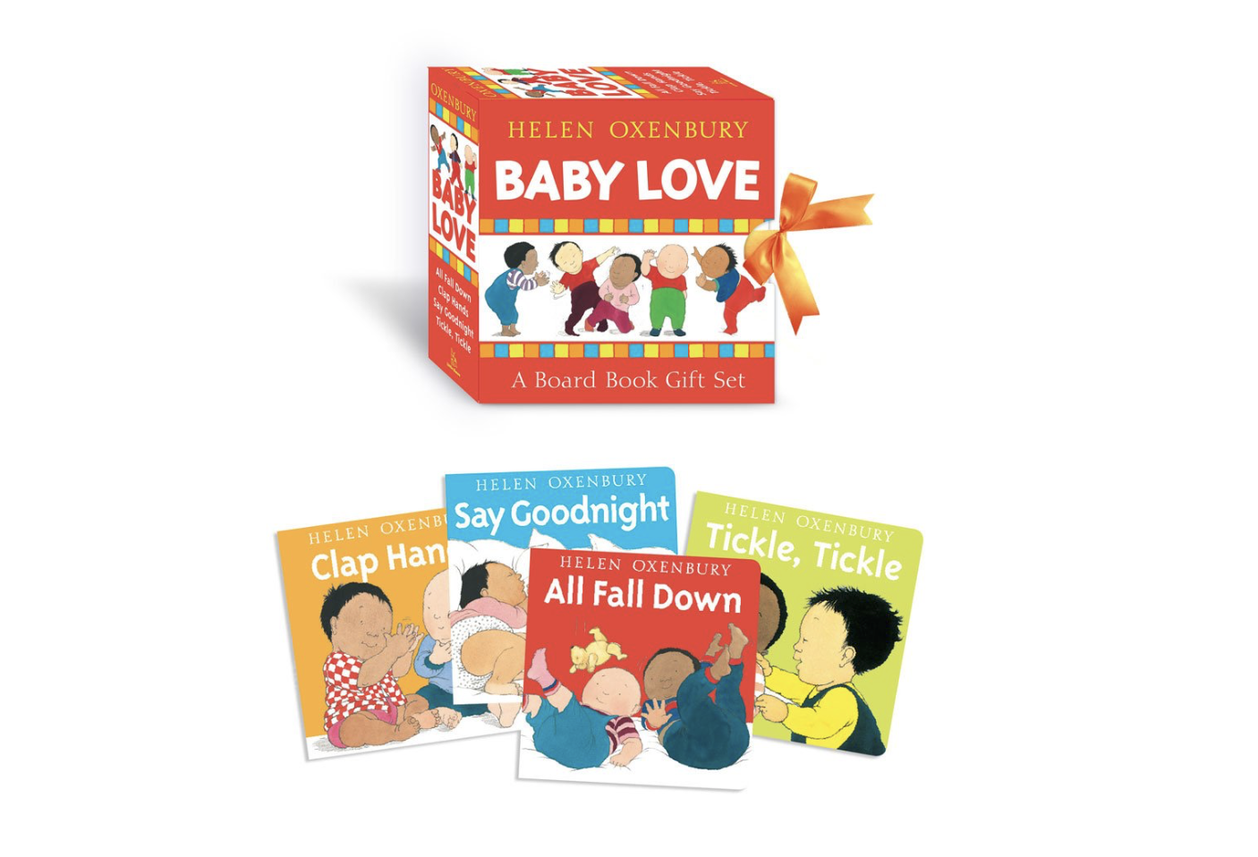 Baby Love Books by Helen Oxenbury - These board books are perfect for this age group. The book is short and the language is simple. Your child will be drawn to the pictures of other babies playing.