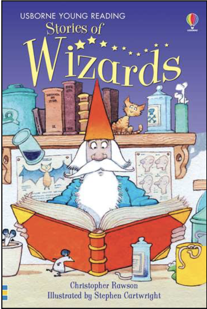 "Stories of Wizards (Usborne Young Readers, No. 1) by Christopher Rawson - ""Wizards"" is part of the Young Reader Series by Usborne Children's books. The books in this series are a natural transition from picture books to chapter books and are just right for those starting to read on their own. ""Wizards"" includes line drawings and the print is large enough to keep the child engaged and keep them from becoming overwhelmed. The book contains several short stories that are divided into chapters."