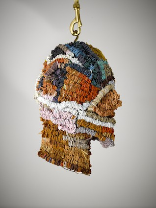 Image:  Selby Ginn  ,  Omnipresent Incarnate (head piece) , 2013, wire and woven leather squares, approx 170 x 70 cm.