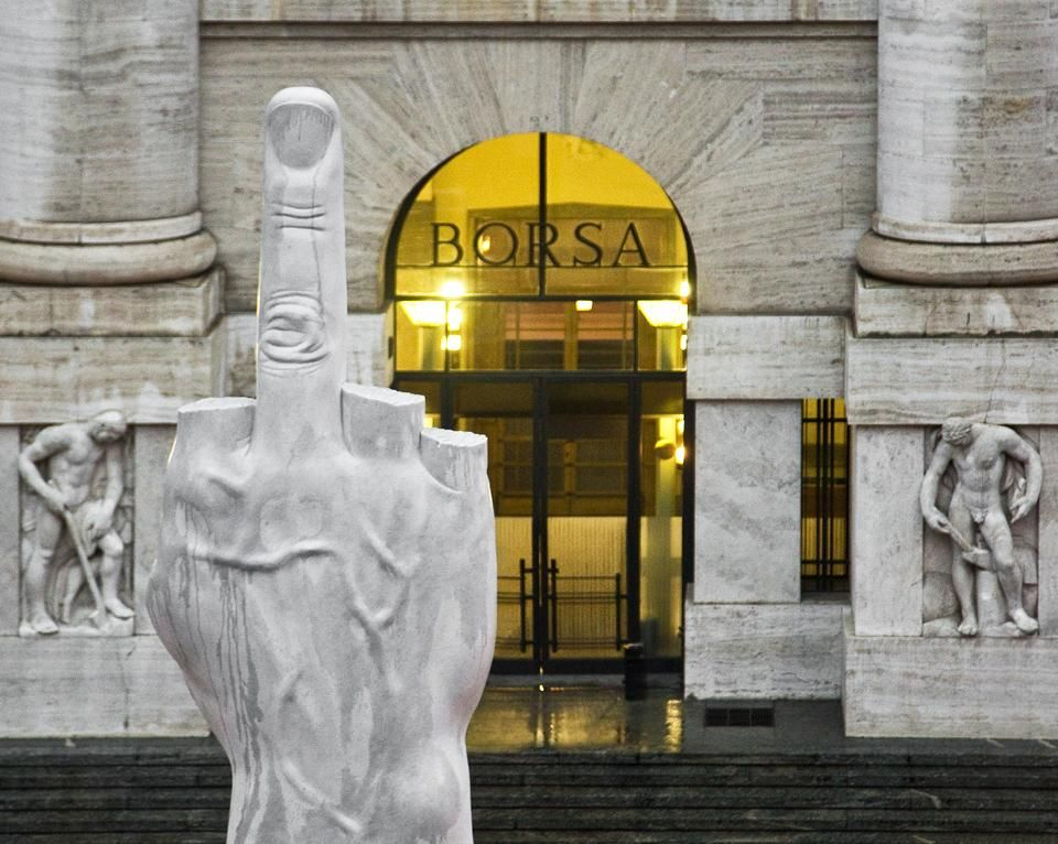 Image: Maurizio Cattelan, L.O.V.E. , 2010, Piazza Affari, Milan.