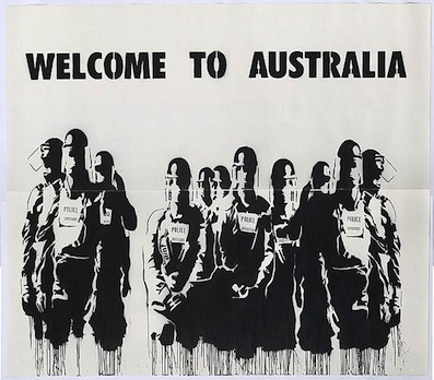 Image:  Vexta , Welcome to Australia, 2010. Stencil on paper, black aerosol paint, 262 x 300 cm. Courtesy the artist and National Gallery of Australia.