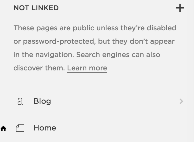 Blog page in unlinked section