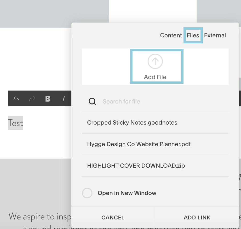 Uploading a file to Squarespace tutorial
