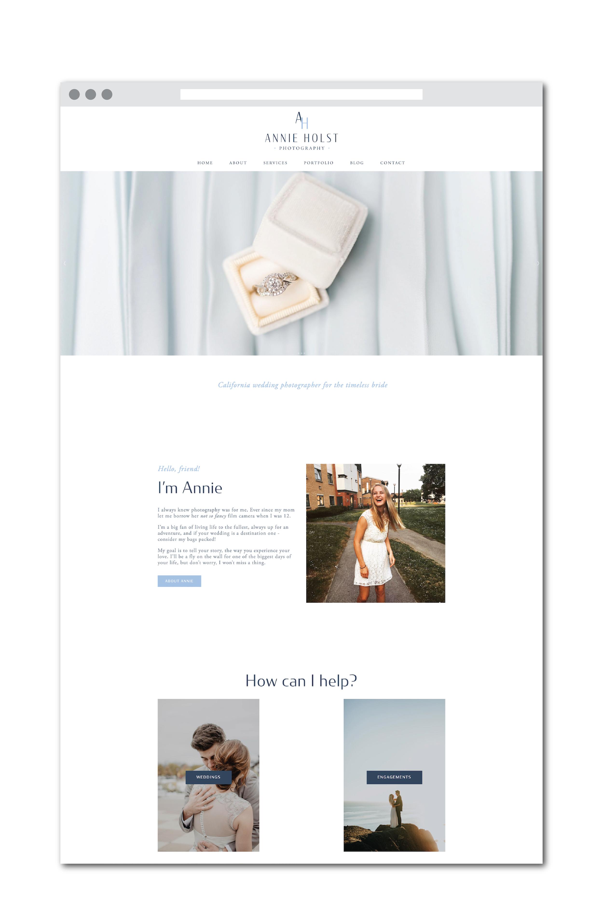 Annie Holst website design for wedding photographer