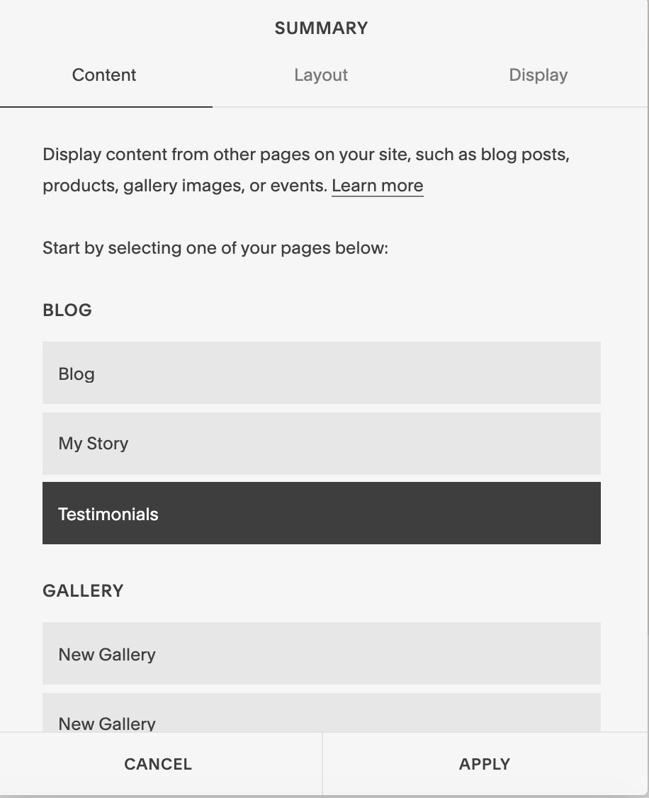 Summary block settings for testimonial