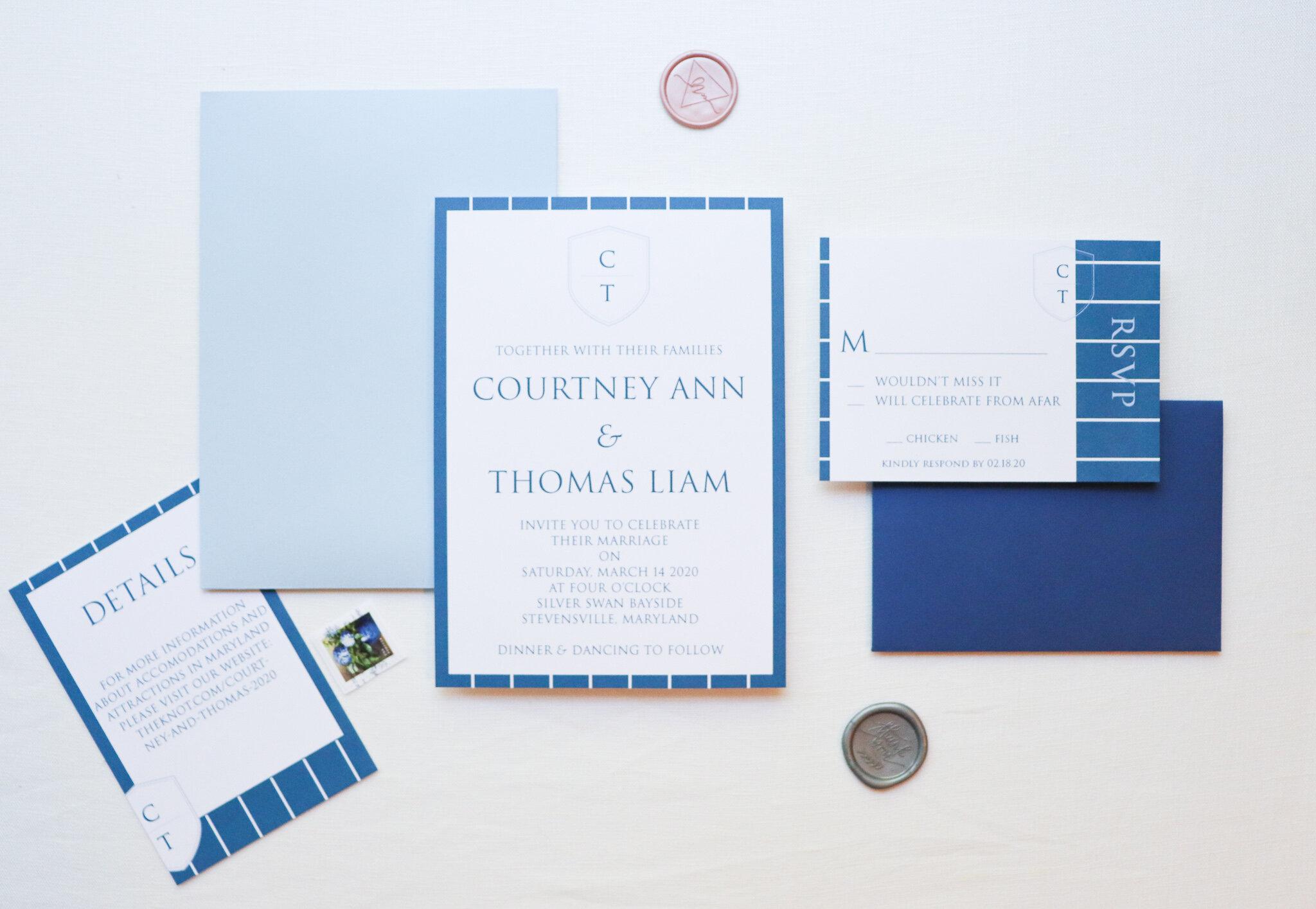 Coastal inspired Wedding invitation suite