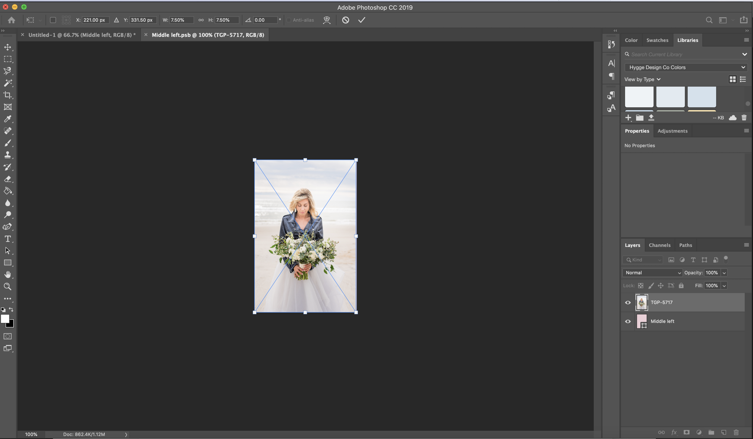 Placing a smart object image
