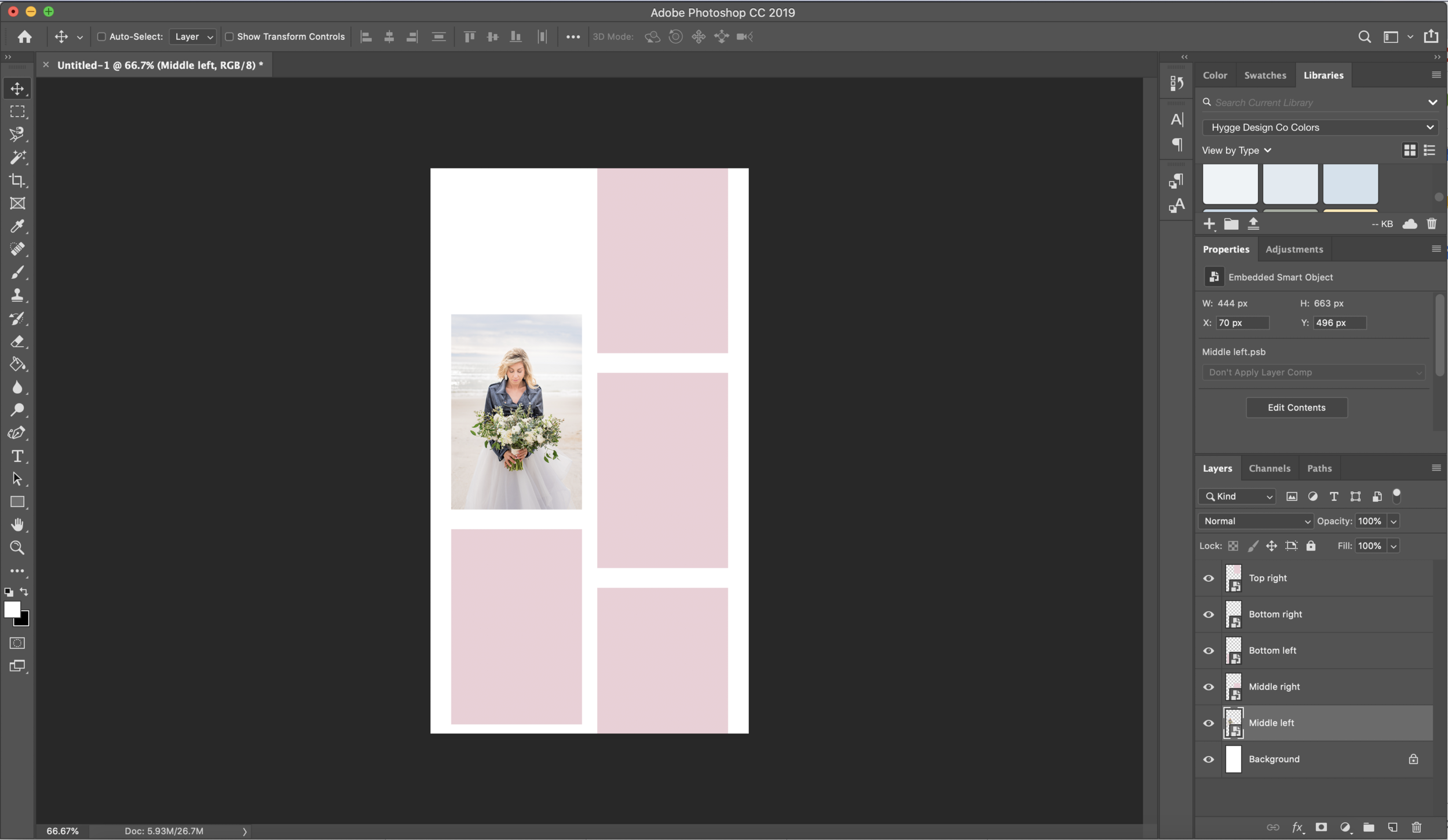 Photoshop smart object template creation