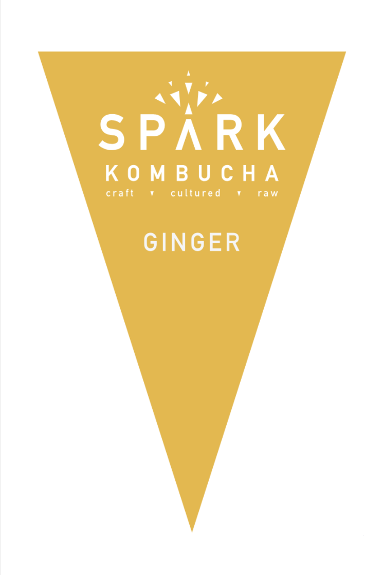 Filtered water, organic white tea, organic black tea, organic kombucha culture, organic cane sugar, and organic ginger juice.
