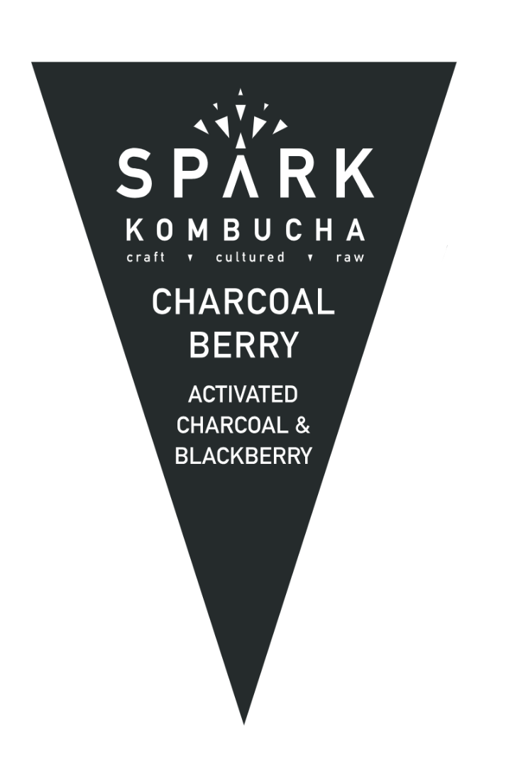 FIRE    CHARCOAL   Filtered water, organic white tea, organic black tea, organic kombucha culture, organic cane sugar, organic activated charcoal, and organic blackberry infusion.