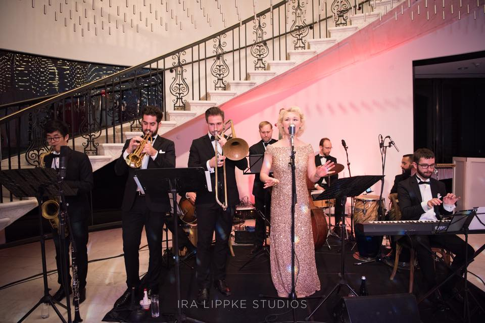 An Art Deco wedding with our 9 piece band at the Museum of the City of New York.