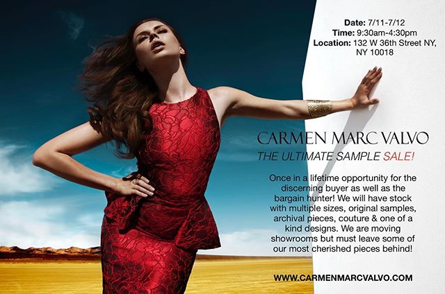 Last day of the sample sale! I will be there from 10-6 to help you find the perfect dress! #carmenmarcvalvo