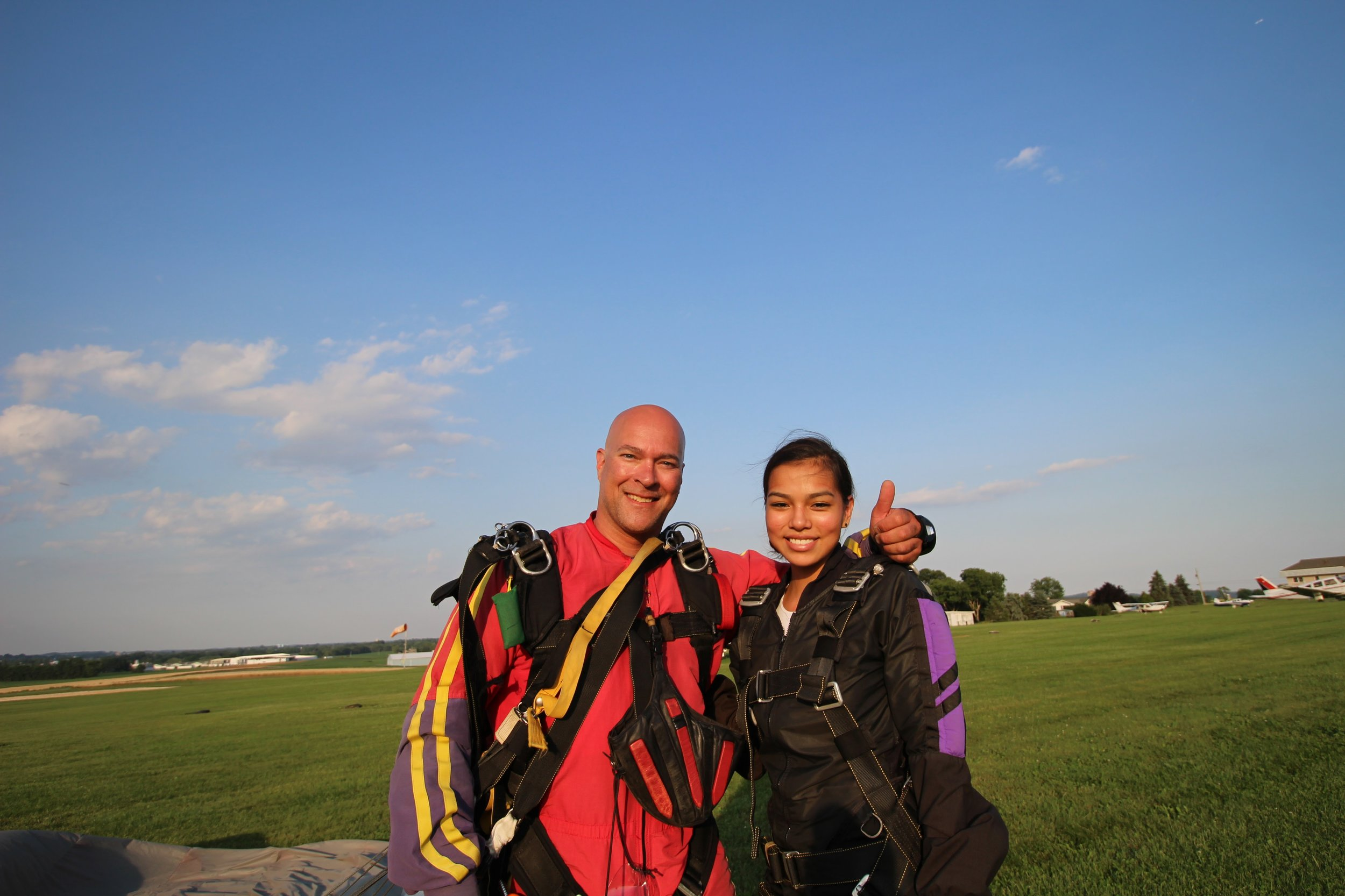 happy tandem passenger after jump at maytown sport parachute club