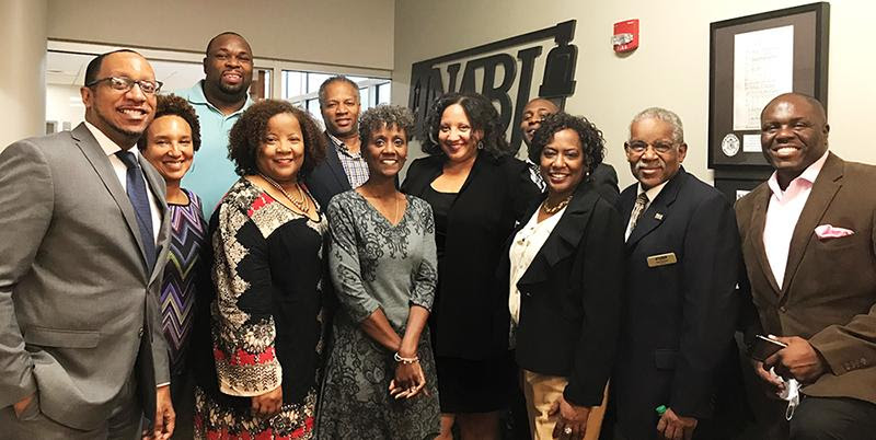 Several of the 2017-19 NABJ Board of Directors and Executive Director Sharon Toomer at NABJ headquarters.