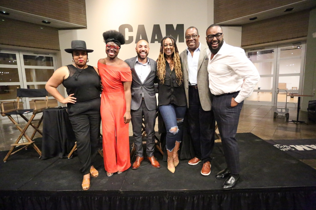 (L-R) Arianne Edmonds, Founder of the J.L. Edmonds Project; Tre'vell Anderson,president of the LA chapter of the National Association of Black Journalists and director of Culture and Entertainment, Out Magazine; Brandon I. Brooks, managing editor at the Los Angeles Sentinel and L.A. Watts Times; Lilly Workneh, editor-in-chief of Blavity News; Tony Cox, associate chair and professor of journalism at Cal State Los Angeles and Tyree Boyd-Pates, History Curator and Program Manager at California African American Museum (CAAM).