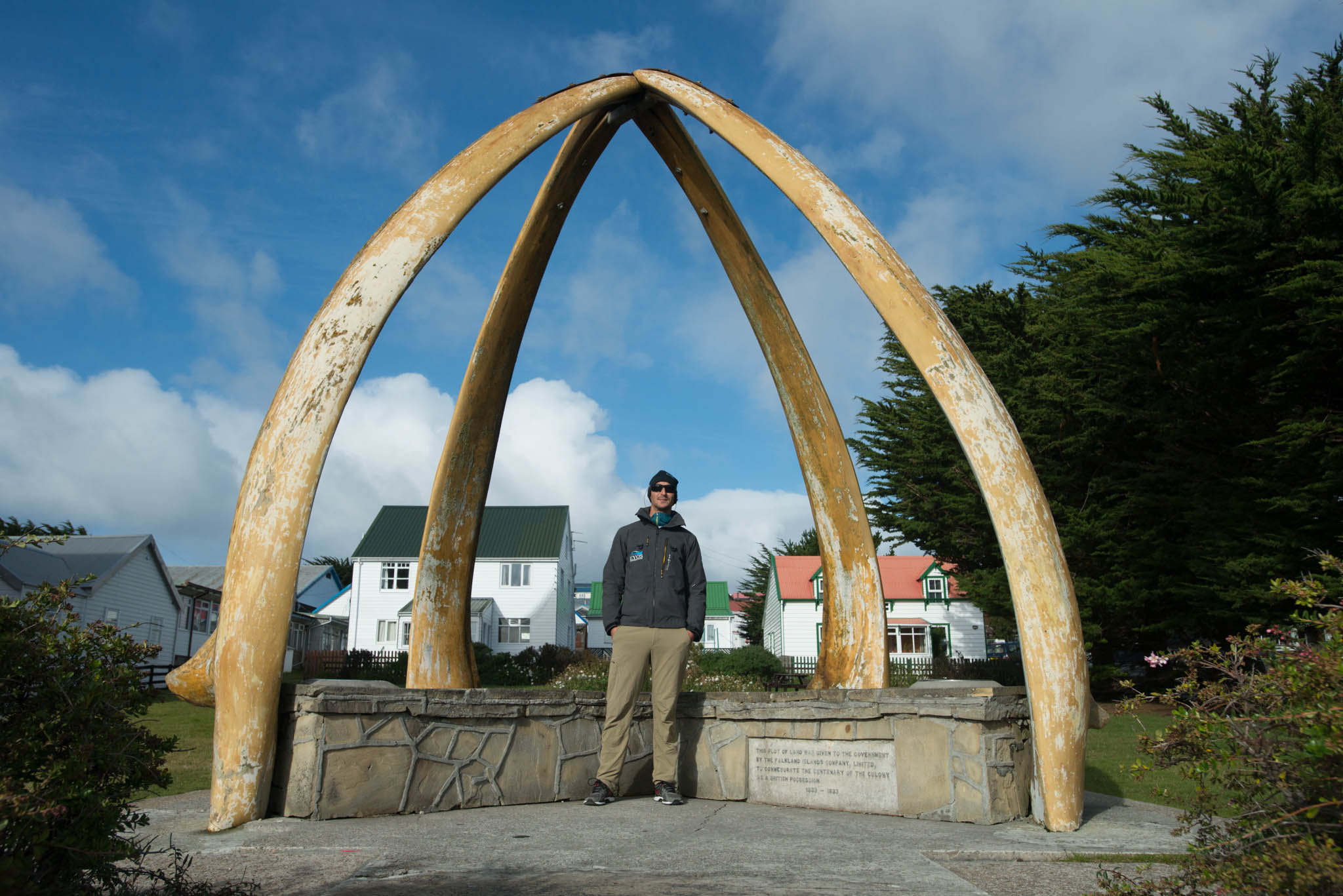 Justin at the Whale Bone Arch