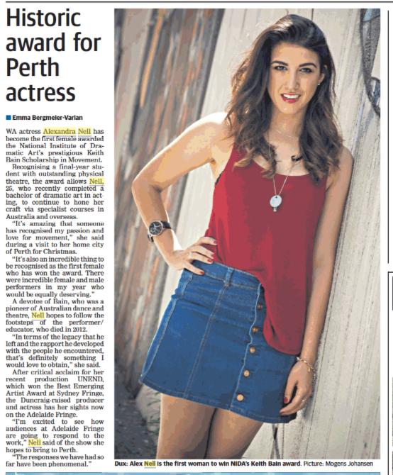 Historic Award for Perth actress The West Australian Written by: Emma Bergmeier-Varian (2015)